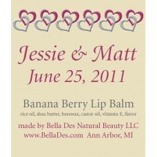 Personalized Lip Balm - Linked Hearts Label